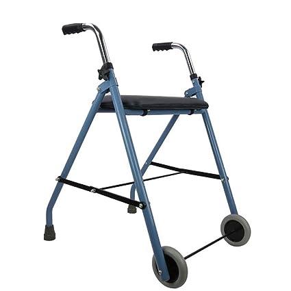 Andadores con Asiento 2 Ruedas para Personas Mayores Grip Ajustable, discapacitado, Adulto Mayor,