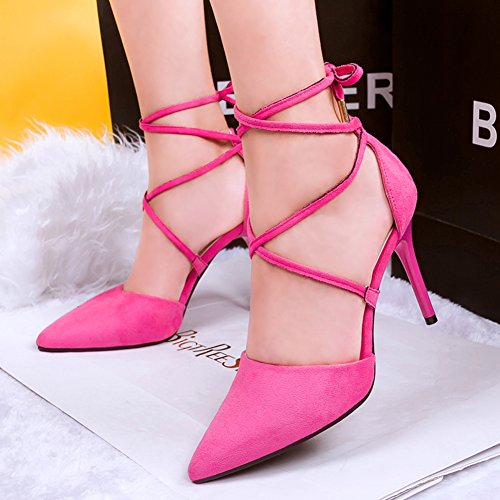 Tie Cross Rose Pointed up Strappy High Womens Faux Red Heel Stiletto Velvet Pump Dress toe q14IUY