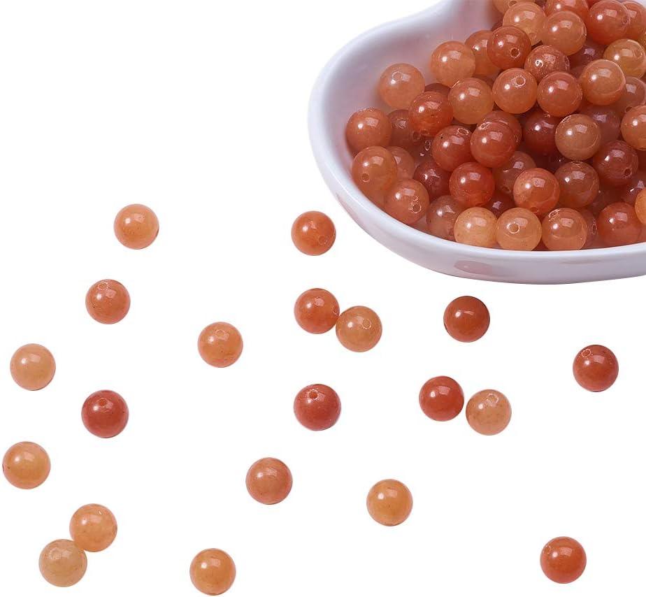 NBEADS 1 Caja de 120 Piezas de 8 mm de Piedras Preciosas de Aventurina Rosa Natural con Cuentas de Piedra Sueltas Redondas con Orificio de 1 mm para Pulsera de Bricolaje, Pendientes