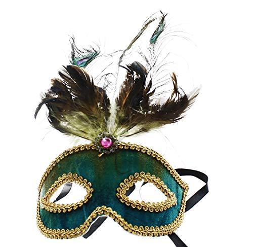 Safari Eye Venetian Mardi Gras Mask w/Peacock Feathers: Teal ()