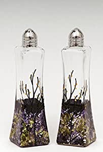 Glass Salt and Pepper Shakers Purple Green White Set of 2