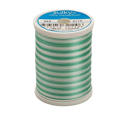 (Sulky Of America 268d 40wt 2-Ply Variegated Rayon Thread, 850 yd, True Green )
