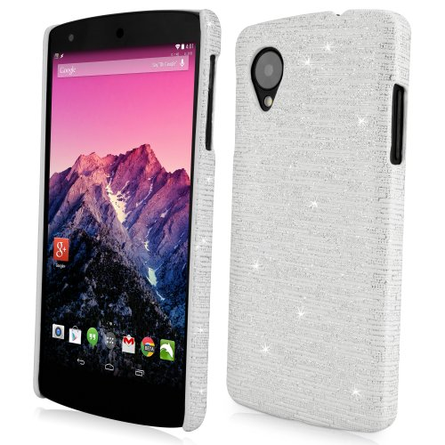 Nexus 5 Case, BoxWave [Digital Glitz Case] Slim-Fit Back Cover with Glitter Pattern Design for Google Nexus 5 - White