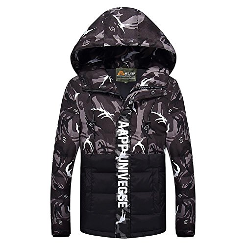 Sunshey Men's Black Jackets Jacket Camouflage Puffa Hooded Down 2 Winter a174dqaw