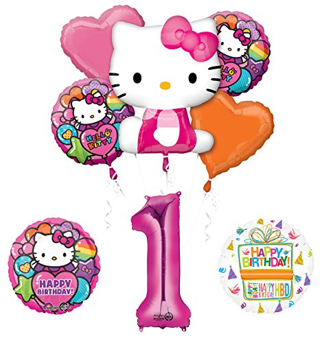 Hello Kitty 1st Birthday Party Supplies and Balloon Bouquet Decorations]()