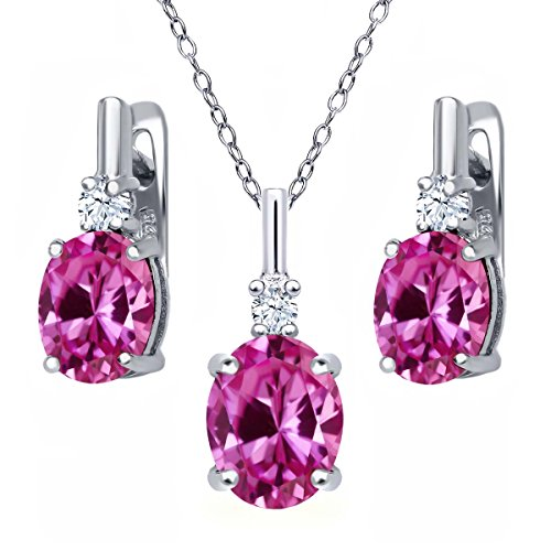 7.25 Ct Oval Pink Created Sapphire 925 Sterling Silver Pendant Earrings Set by Gem Stone King