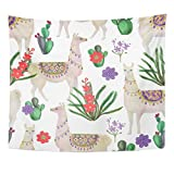 Emvency Tapestry Peru Watercolor Painting Llamas and Cacti Alpaca America Animal Home Decor Wall Hanging for Living Room Bedroom Dorm 50x60 inches