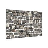 Bilderwelten Glass Splashback - Crushed Stone Wallpaper Stone Wall - Landscape 2:3, Backsplash Cooker Splashback Protector Panel Decorative Splashback Panel, Dimension HxW: 59cm x 90cm