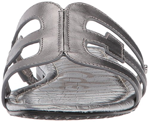 Sandals Women's Bay Pewter Sam Metallic Leather Flat Edelman TI87w5