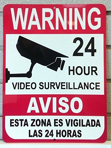 1-Pc Imposing Unique Warning 24 Hour Video Surveillance Aluminum Signs Door Cameras In Use Under Protect Indoor Reflective Protected Side Home Trespassing Hr Decals House Neighbor Size 9