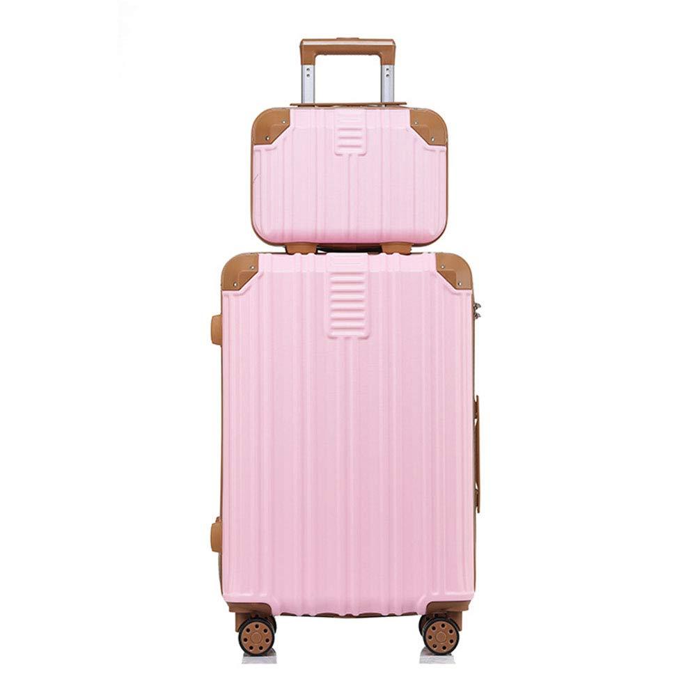 ハードラゲッジセット、軽量キャスタートロリー、3桁の1次ロックボックス、ABSスーツケース、出張旅行の写真-pink-XL B07THWY7YS pink X-Large