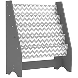 Pidoko Kids Sling Bookcase, Grey with Chevron | Wooden Children's Bookshelf with Pocket Storage Book Rack - Canvas