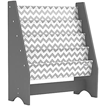 Pidoko Kids Sling Bookcase, Grey with Chevron | Wooden Children's Bookshelf with Pocket Storage Book Rack