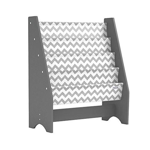 Pidoko Kids Sling Bookcase, Grey with Chevron Wooden Children s Bookshelf with Pocket Storage Book Rack – Canvas