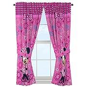 Disney Minnie Mouse Window Panels Curtains Drapes Pink Bow-tique, 42  x 63  each