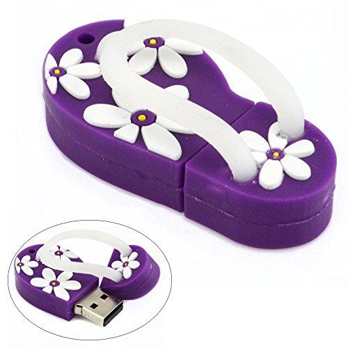 Price comparison product image 16GB USB Flash Drive with Flower Pattern Beach Sandal Shape (Dark Purple)