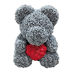 Centishop Rose Bear - Artificial Rose Teddy Bear Cub, Forever Rose Everlasting Flower for Window Display, Anniversary Christmas Valentines Gift 33