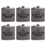 Set of 6 - Personalized Groomsmen Flasks, Groomsmen Gifts | 6oz Leatherette Personalized Flask for Liquor w Optional Gift Box - Personalized Groomsman Proposal Gifts | Wedding Favor #4 ASH