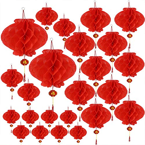 Supla 24 Pcs 4 Size Chinese Red Lanterns Decorative Hanging Plastic Chinese Lanterns 6' 7' 9.5' 11' Wide Red Bulk Outdoor Red Chinese New Year Honeycomb Lantern Decoration 2019