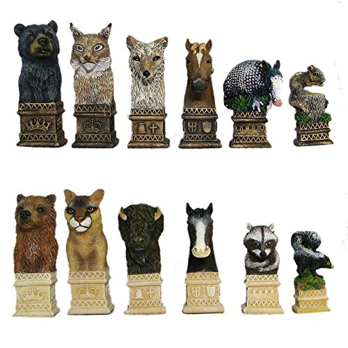 Wild Animals Hand Painted Polystone Chess Pieces