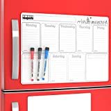 Refrigerator Magnet Calendar Dry Erase Weekly Planner Board - To Do List Notepad Magnetic Vinyl Sheet - Family Message Board for Refrigerator - Home Schedule Organizer with Things To Do Whiteboard