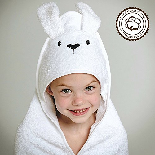 Baby Hooded Towel   100% Natural Cotton   Luxury Extra Soft Babies and Small Childrens Bath Towel   Cute Bunny Style   by Modern Bubs