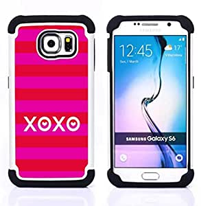 - xoxo love kisses summer stripes red/ H??brido 3in1 Deluxe Impreso duro Soft Alto Impacto caja de la armadura Defender - SHIMIN CAO - For Samsung Galaxy S6 G9200