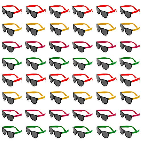 Bottles N Bags 48 Pairs of 80s Style Neon Party Sunglasses | Party Favors Toy Sunglasses in Cool Colors ● Kids & Adult Shades for Birthday Parties, Graduation, 4th of July and Summer Vacation -