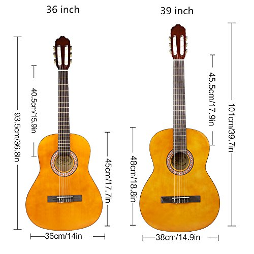 CNBLUE 3/4 Size Classical Acoustic Guitar 36 inch Nylon Strings Guitar for Beginners Kid Guitar - Image 6