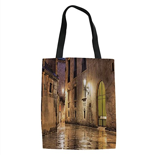 IPrint Gothic Decor,Gothic Ancient Stone Quarter of Barcelona Spain Renaissance Heritage Gothic Night Street Photo,Cream Printed Women Shoulder Linen Tote Shopping Bag by IPrint