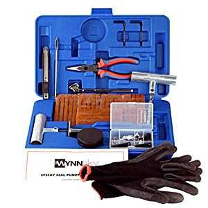 WYNNsky New Ideal 60 Pieces Tire Repair Tools Kit, Plug Flat and Punctured Tires-60 Pieces Truck Tool Box For Motorcycle, ATV, Jeep, Truck, Tractor Flat Tire Puncture Repair Box by WYNNsky