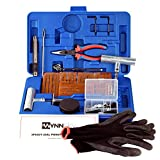 WYNNsky New Ideal 60 Pieces Tire Repair Tools Kit, Plug Flat and Punctured Tires-60 Pieces Truck Tool Box For Motorcycle, ATV, Jeep, Truck, Tractor Flat Tire Puncture Repair Box