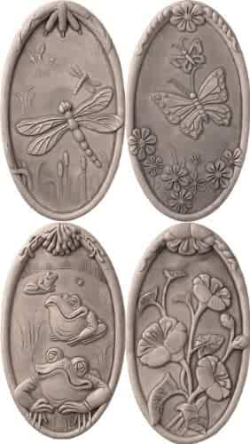 JBK Pottery Nature Wall Tiles In Antique, Set of 4, White,