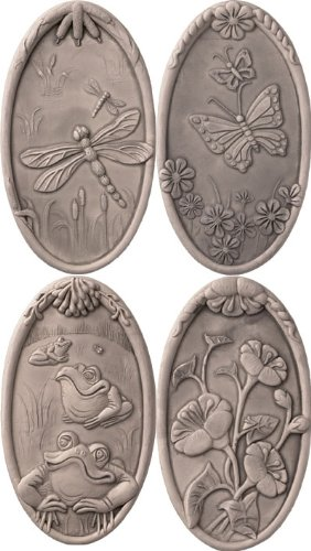 JBK Pottery Nature Wall Tiles In Antique, Set of 4, ()