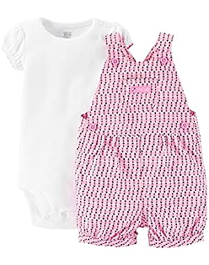 Just One You Baby Girls' Ladybug Shortall- Pink