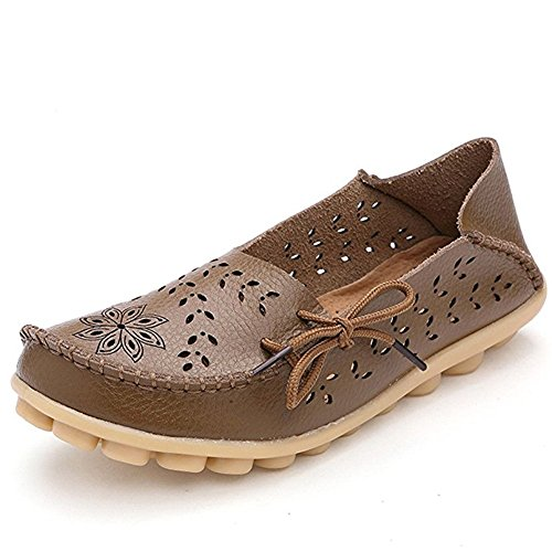 MIUINCY Shoes Womens Leather Casual Loafer Shoes Lace Up Flat Slip-On Slippers Casual Shoes Hollow Khaki HwaiuM