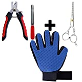 Pet Grooming Glove with nail clippers and dog scissors Gentle Deshedding Brush Glove grooming kit pet