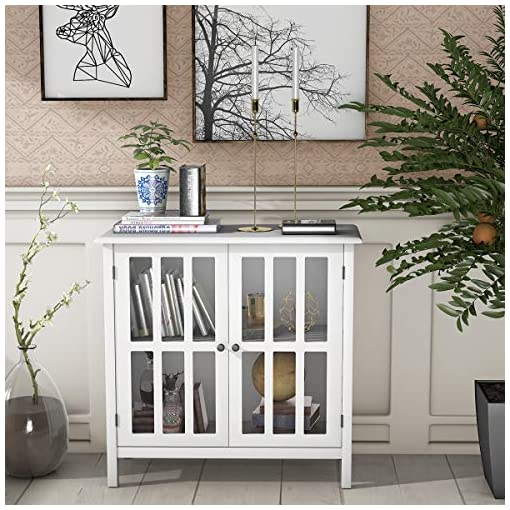 Farmhouse Buffet Sideboards Tangkula Sideboard Buffet Storage Cabinet, Kitchen Storage Cabinet with 2 Glass Doors, Liquor Cabinet for Home Kitchen… farmhouse buffet sideboards