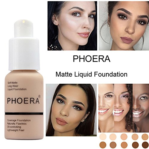 Sonmer Foundation Full Coverage New 30ml PHOERA 24HR Matte Oil Control Concealer Liquid Foundation (Nude #102)