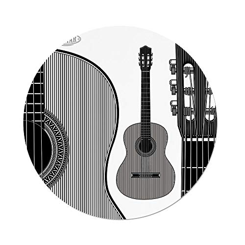 Polyester Round Tablecloth,Guitar,Monochrome Design Striped Acoustic Classical Instruments Folk Country Music Concert Decorative,Black White,Dining Room Kitchen Picnic Table Cloth Cover,for Outdoor I