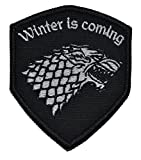 Detailed Direwolf Stark Crest Shield 3x2.5 Morale Patch - Black