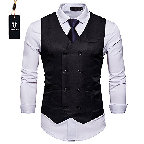 Cyparissus Mens Vest Waistcoat Men's Suit Dress Vest For Men or Tuxedo Vest (M, Black 3#) by Cyparissus