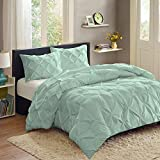 Sweet Home Collection  3 Piece Luxury Pinch Pleat Pintuck Fashion Duvet Set,Mint,Queen