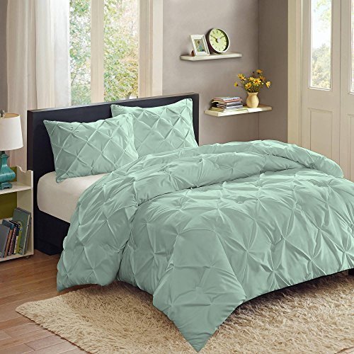 Cheapest Prices! Sweet Home Collection  3 Piece PP Luxury Pinch Pleat Pintuck Fashion Duvet Set,Min...