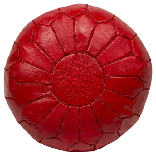 Casablanca Market Moroccan Embroidered Cotton Stuffed Leather Pouf/Ottoman, Red by Casablanca Market