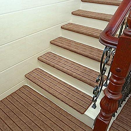 Antideslizantes para escaleras Autoadhesivo Almohadilla De La Escalera Alfombra De Escalera Suave con Rayas Espesar Cuadrado Paso Alfombra Decoración Interior TZXSHO: Amazon.es: Hogar