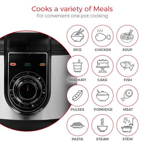 Tower Health Multi-Function Electric Pressure Cooker, Steamer, Rice Cooker, Stewing Pan with Non-Stick Pot, 90 min Timer, 24 Hour Keep Warm Function, 5 Litre, 1000 W, Stainless Steel