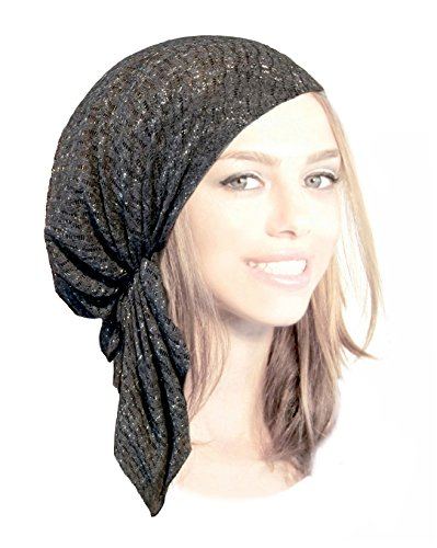 Girls Head Scarf - ShariRose Boho Chic Gray Pre-Tied Head-Scarf Tichel Breathable Sparkly Knit Collection! (Charcoal Gray Silver Short - sk07)