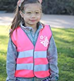 Pink kids safety vest reflective high visibility girls construction vests. Cute Christmas gift for children 3 to 7 years old.