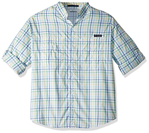 Columbia Mens Super Tamiami Long Sleeve Shirt, Emerald City Large Check, X-Large